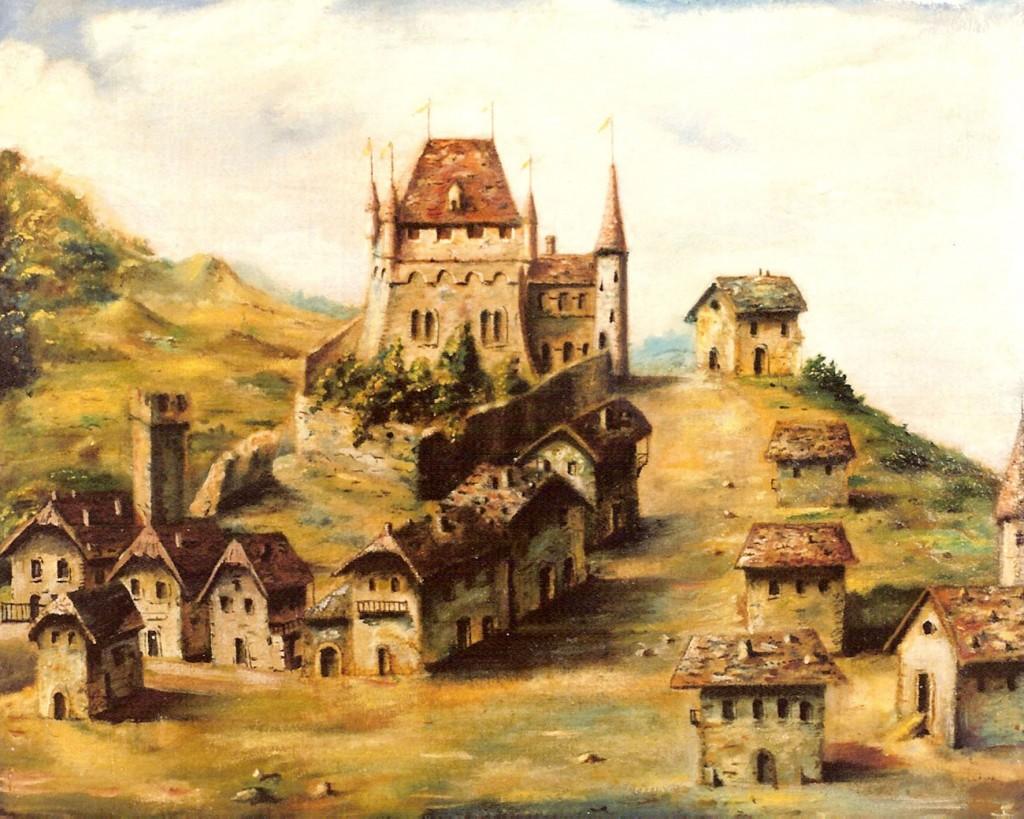 Toile contemporaine représentant le château avant l'incendie de 1607